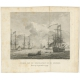 Antique Print of the landing of the British troops in Lemmer by Vinkeles (1802)