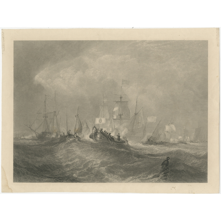 Antique Print of the Prince of Orange at Torbay (c.1860)