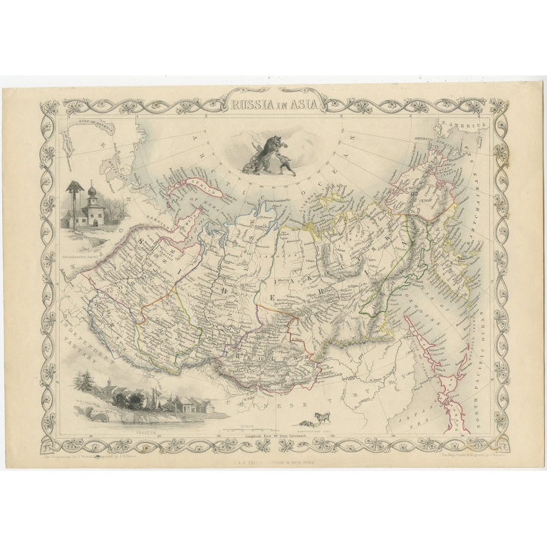 Antique Map of Russia in Asia by Tallis (c.1851)