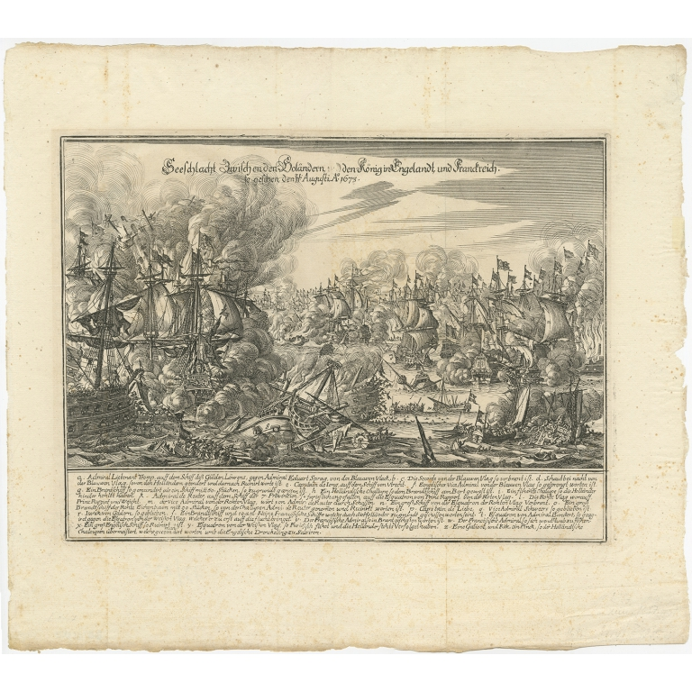 Antique Print of the Naval Battle of Texel by Merian (c.1680)