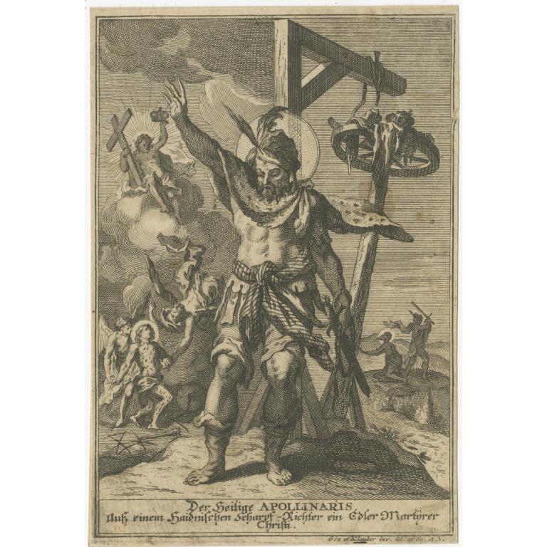 Antique Print of a Saint (c.1780)