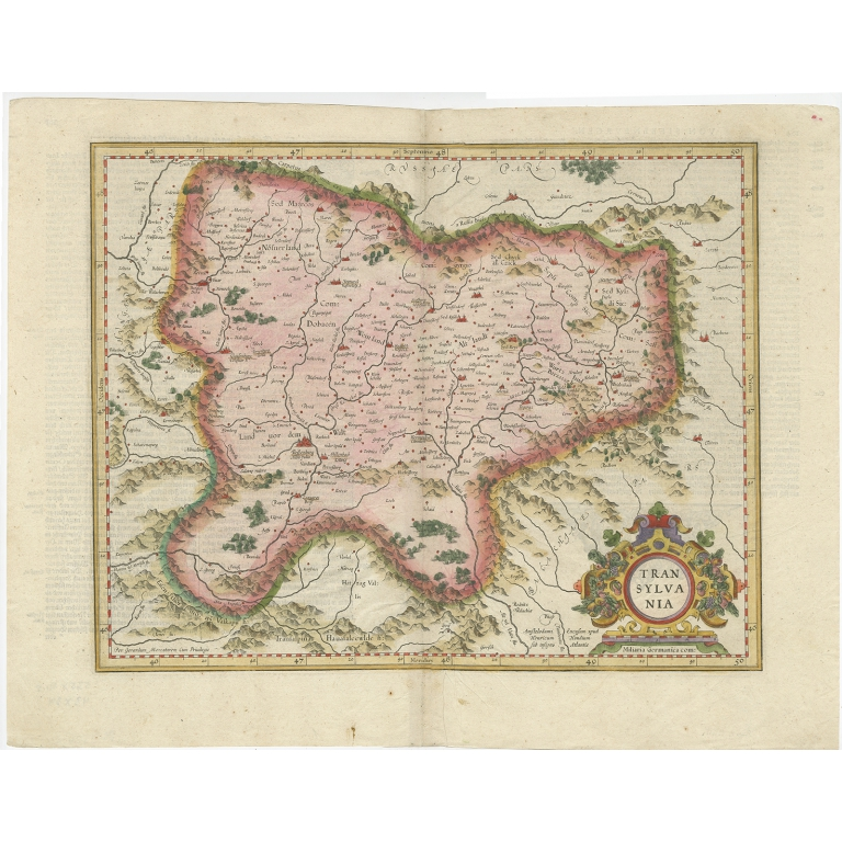 Antique Map of Transylvania by Hondius (c.1630)