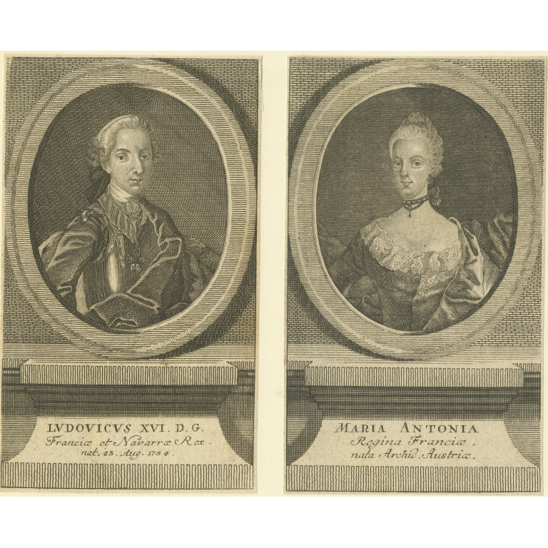 Antique Portraits of Louis XVI and Marie Antoinette (c.1780)