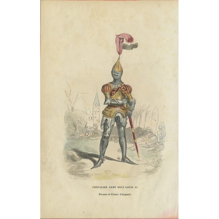 Antique Print of an Armed Knight under the Reign of Louis XI (c.1860)