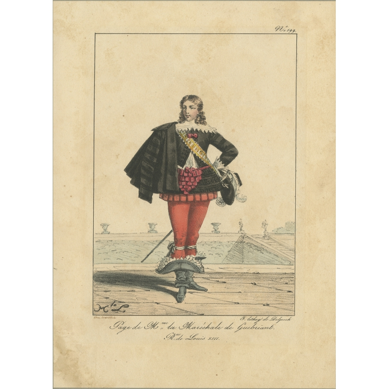 Antique Print of a Servant of the wife of Louis XIII (1820)