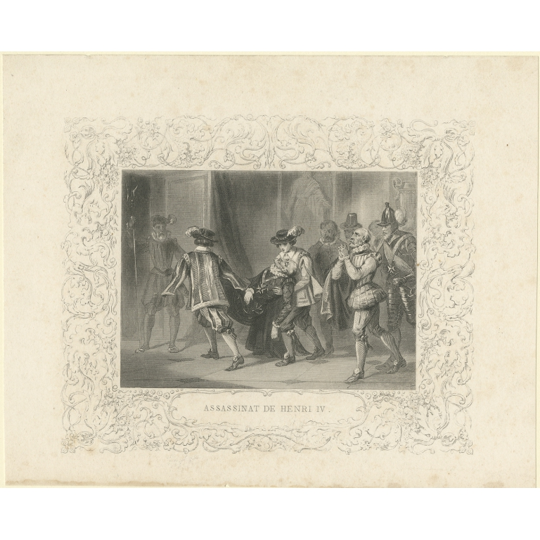 Antique Print of the Assassination of Henry IV (c.1860)
