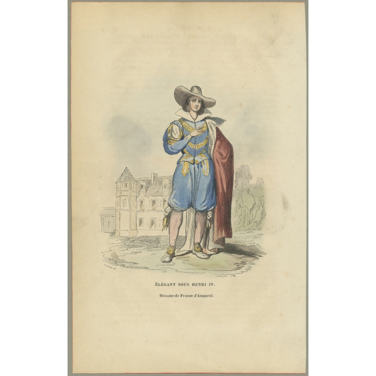 Antique Print of a Man under the Reign of Henry IV (c.1860)