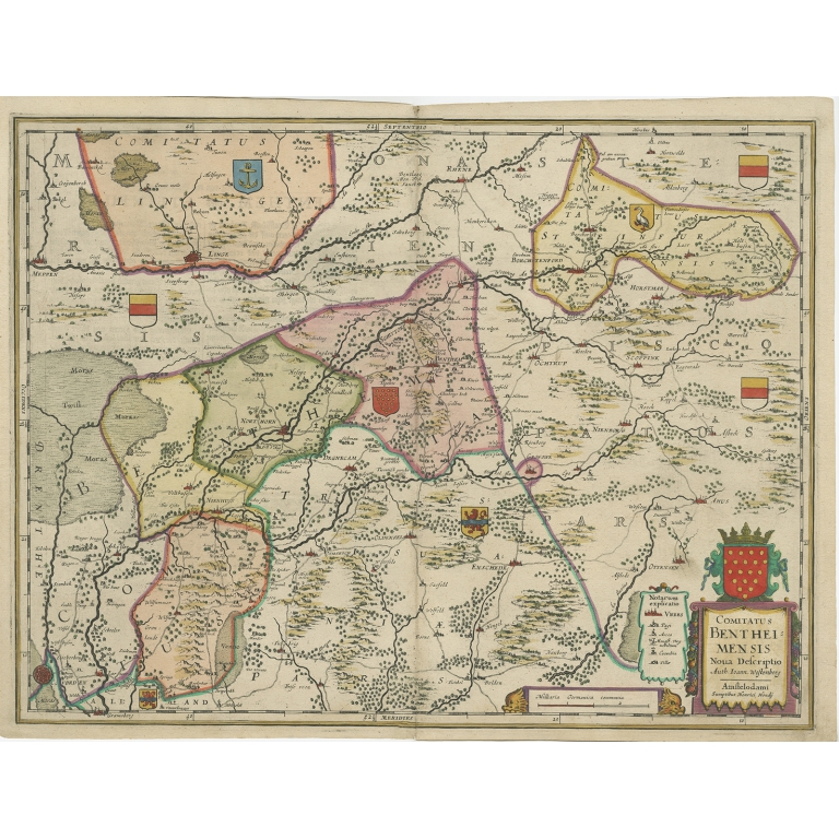Antique Map of the County of Bentheim by Hondius (c.1630)