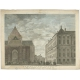 Antique Print of the City Hall and Church of Amsterdam by Tirion (1766)