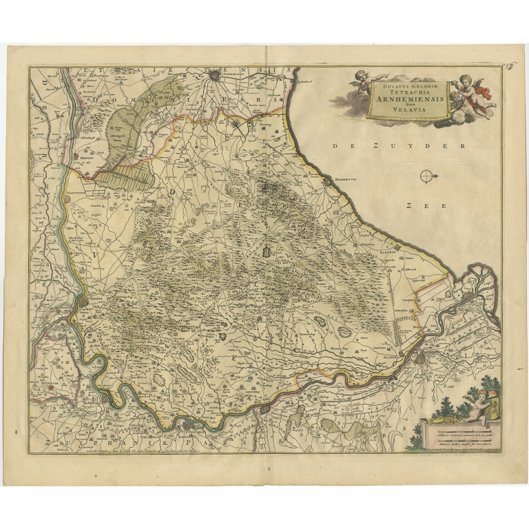 Antique Map of the Region of Arnhem and the Veluwe by De Wit (c.1690)