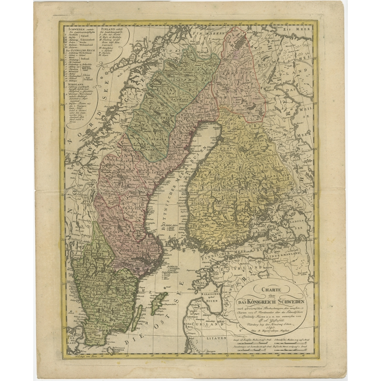 Antique Map of the Kingdom of Sweden by Güssefeld (1793)