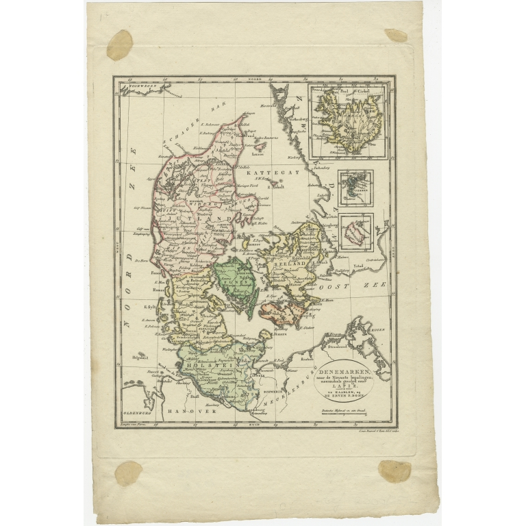 Antique Map of Denmark by Van Baarsel (c.1820)