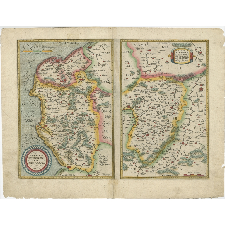 Antique Map of the Region of Boulogne and Péronne (c.1590)