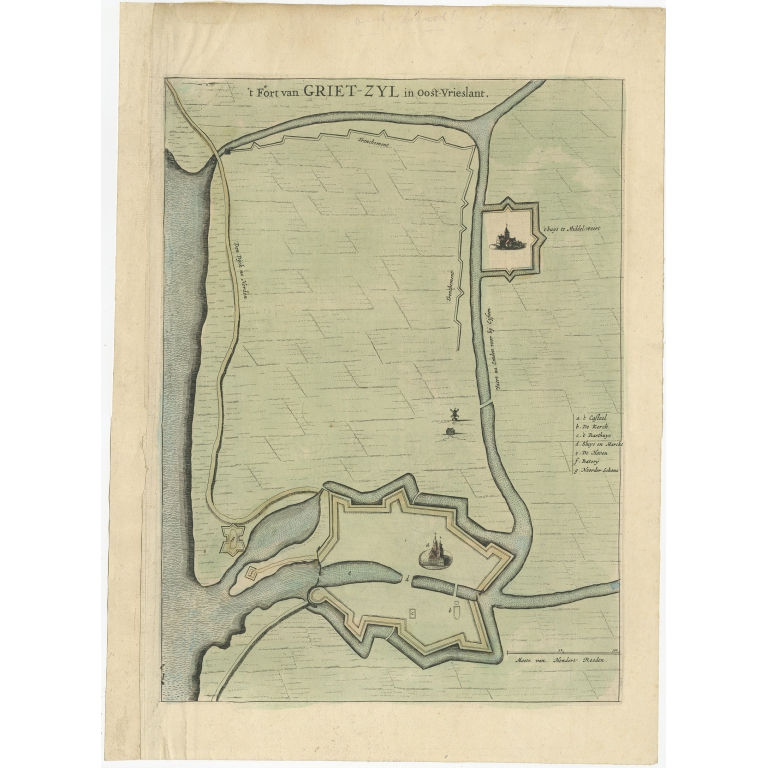 Antique Plan of the Fortress of Greetsiel by Blaeu (c.1650)
