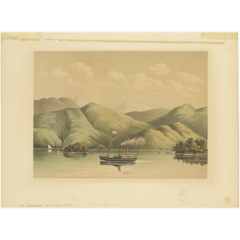 Antique Print of a Ship near the Coast of Aceh by Perelaer (1888)