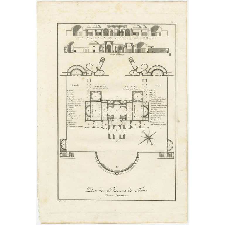 Antique Plan of the overground area of Baths of Titus by Ponce (1786)