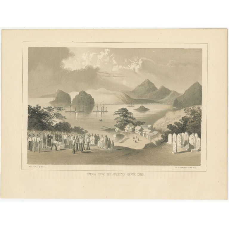 Antique Print of the American Graveyard in Shimoda by Hawks (1856)
