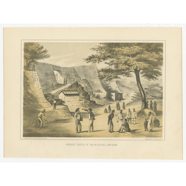 Antique Print of the Ancient Castle of Nagagusko by Hawks (1856)