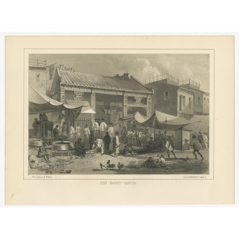Antique Print of a Fish Market in Guangzhou by Hawks (1856)