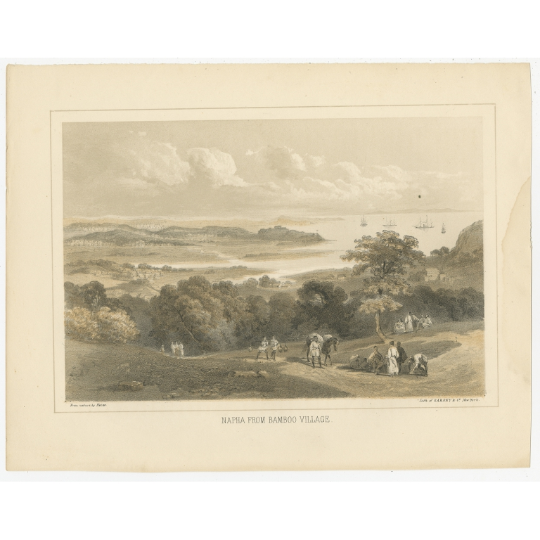 Antique Print of Naha by Hawks (1856)