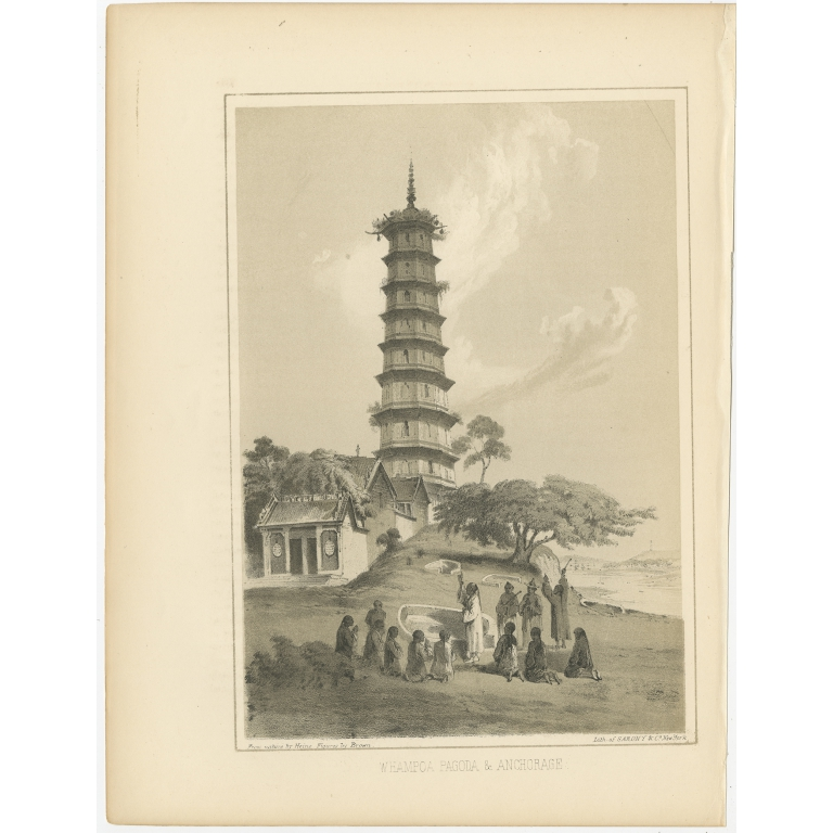 Antique Print of the Pazhou Pagoda by Hawks (1856)