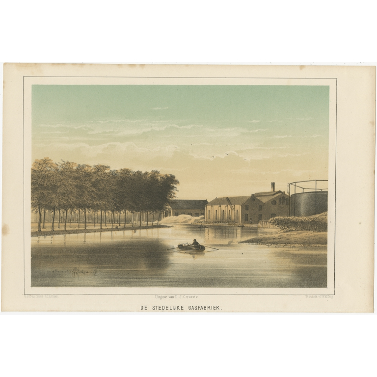 Antique Print of the Gasworks of Leiden by Montagne (1859)