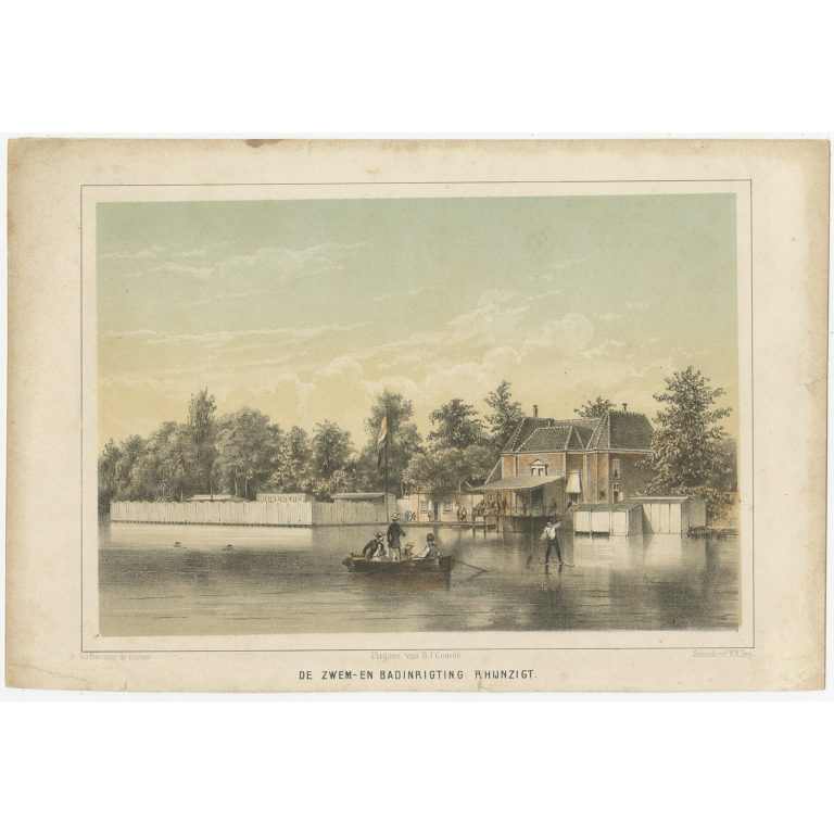 Antique Print of the 'Rhijnzigt' Swimming Facility of Leiden by Montagne (1859)
