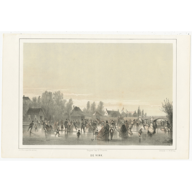 Antique Print of Ice Skating in Leiden by Montagne (1859)