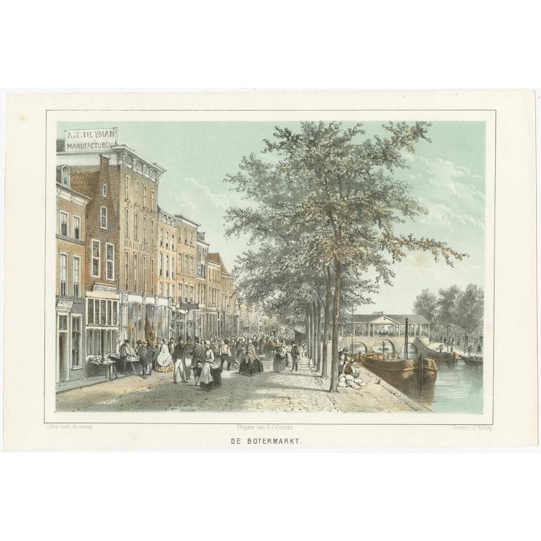 Antique Print of the 'Botermarkt' Street in Leiden by Montagne (1859)