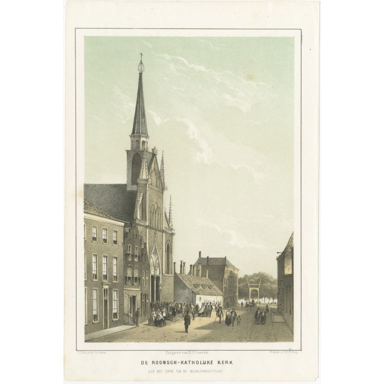 Antique Print of the Catholic Church of Leiden by Montagne (1859)