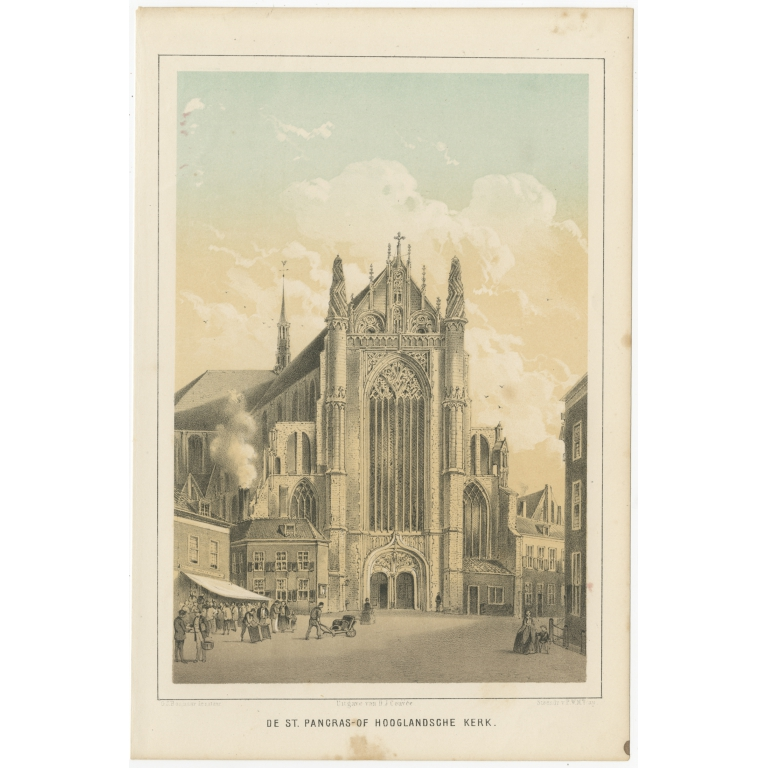 Antique Print of the St. Pancras Church of Leiden by Montagne (1859)