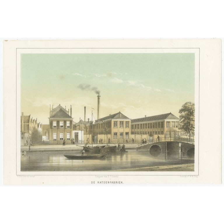 Antique Print of the Cotton Mill of Leiden by Montagne (1859)