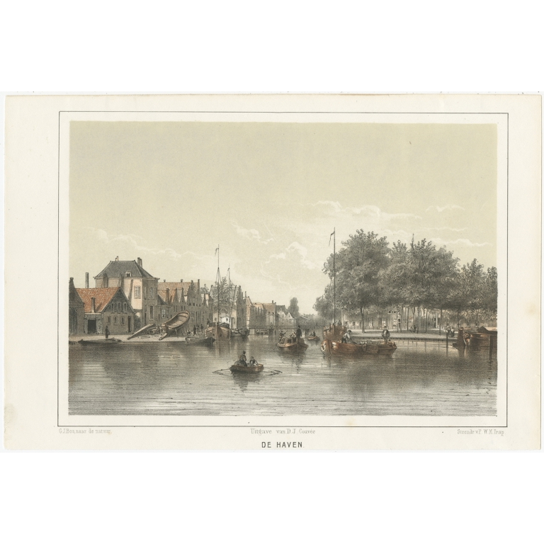 Antique Print of the Port of Leiden by Montagne (1859)