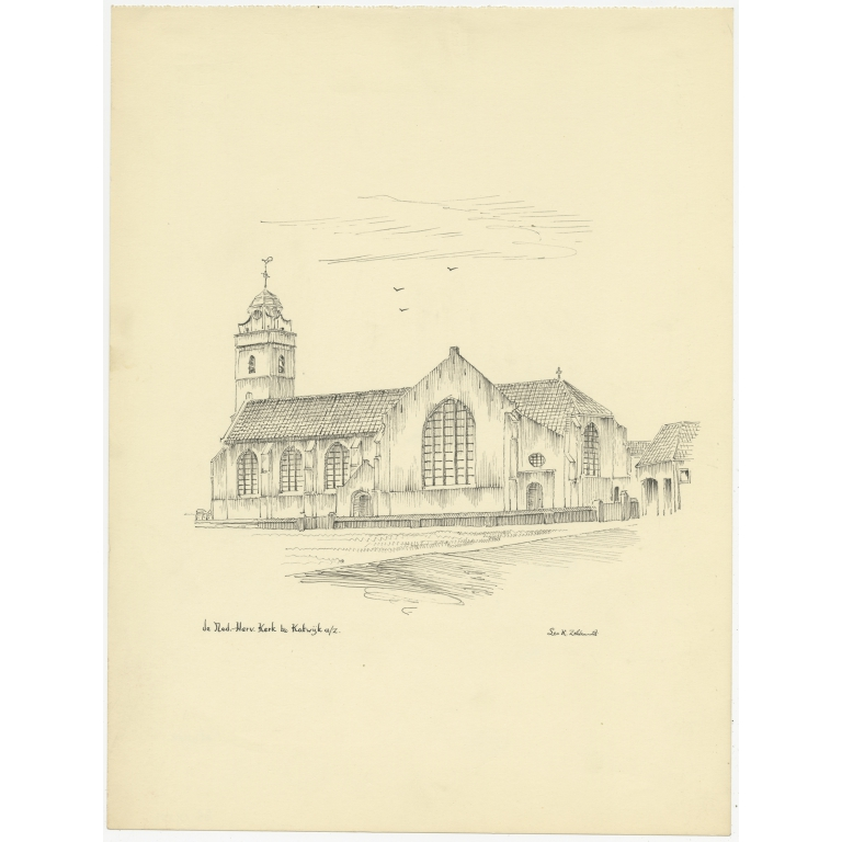 Vintage Pen Drawing of the Church of Katwijk aan Zee by Zeldenrust (c.1950)
