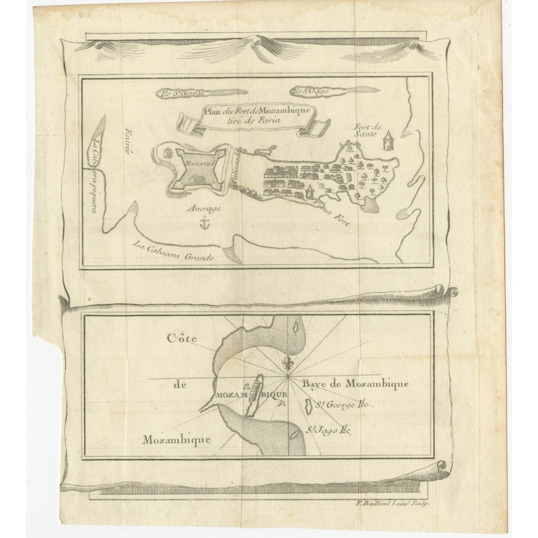 Antique Map of Mozambique by Baillieul (c.1759)