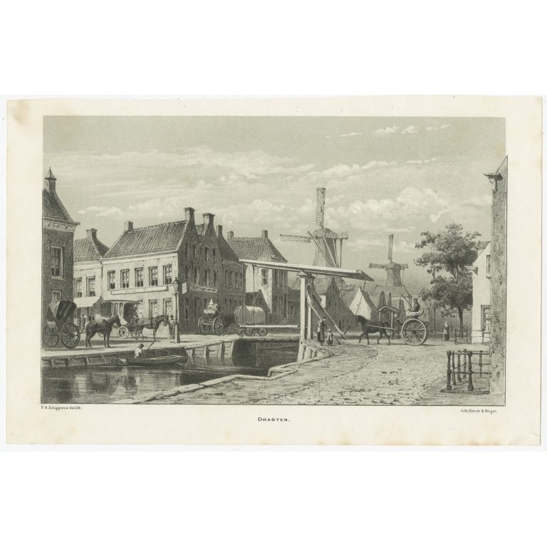 Antique Print of Drachten by Craandijk (1875)