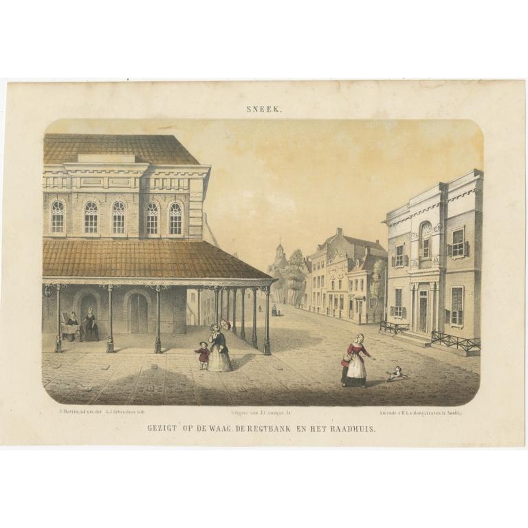 Antique Print of Sneek by Loman (c.1860)