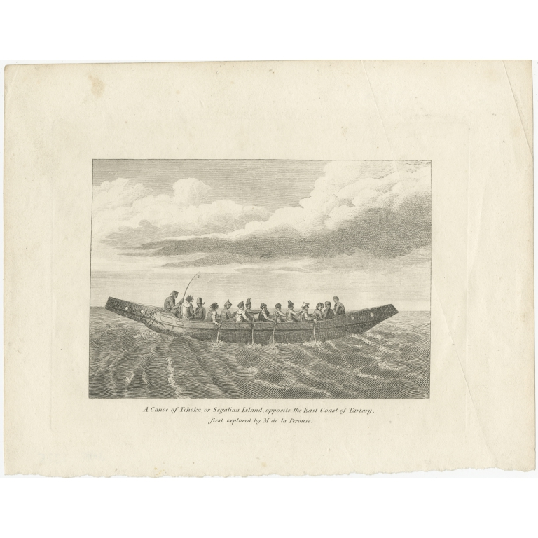 Antique Print of a Canoe of Chukotka (c.1800)