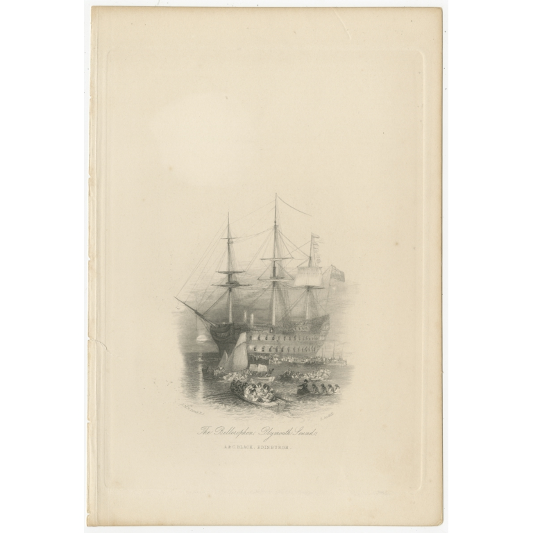 Antique Print of Napoleon Bonaparte on board of the HMS Bellerophon by Black (c.1880)