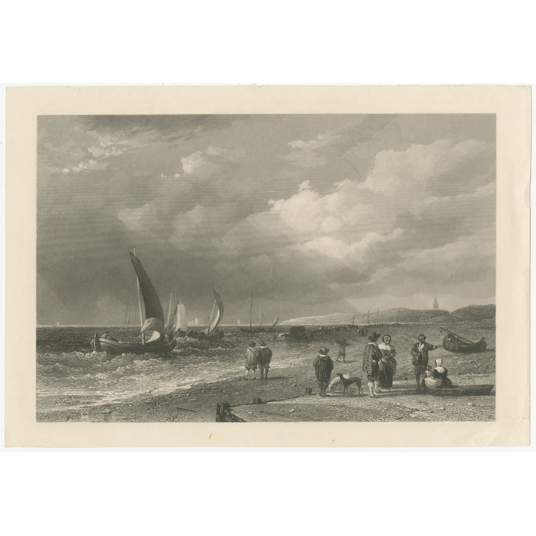 Antique Print of a Sea Shore in Holland (c.1870)