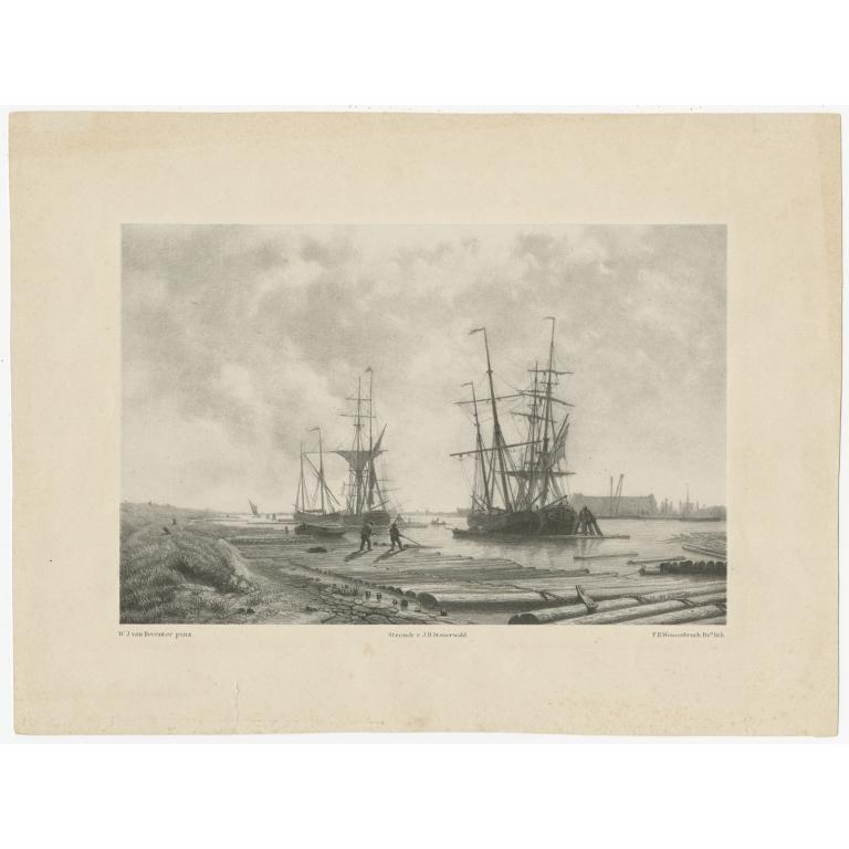 Antique Print of Vessels in Amsterdam by Steuerwald (c.1850)