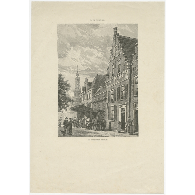 Antique Print of the Edam Cheese Market by Ost (c.1900)