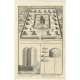 Antique Print of the Convent of Buddhist Monks by Moubach (c.1730)