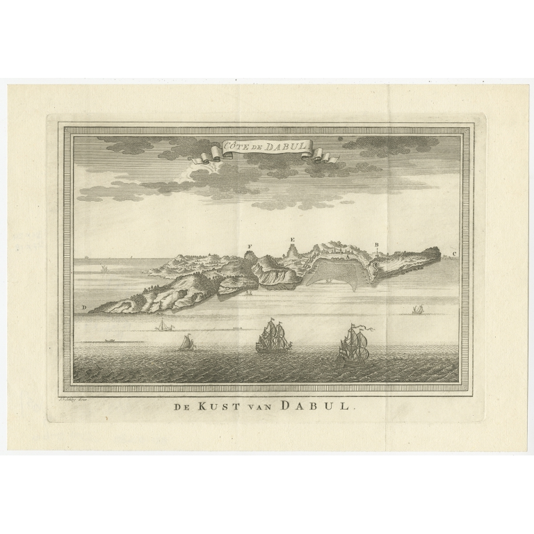 Antique Print of the Coast of Dabhol by Van Schley (1757)
