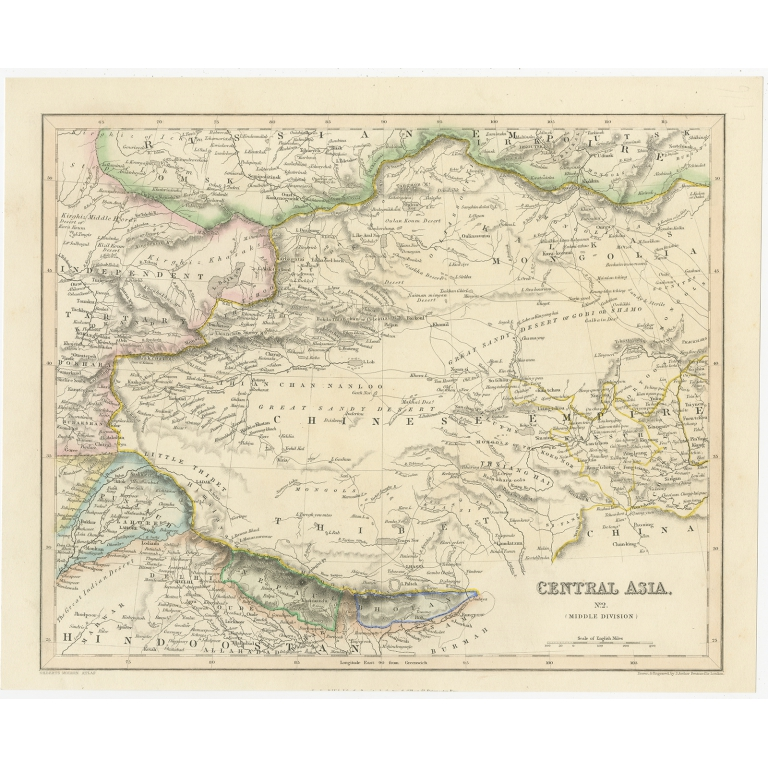 Antique Map of Central Asia by Archer (c.1843)