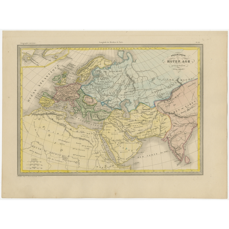 Antique Map of Europe by Malte-Brun (c.1850)