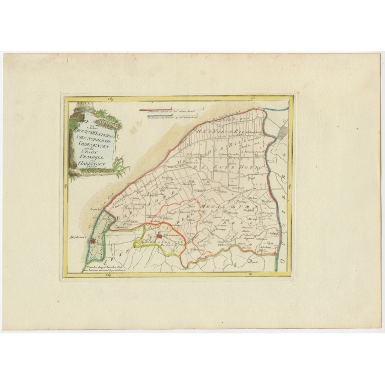 Antique Map of the region of Franeker and Harlingen by Von Reilly (1791)