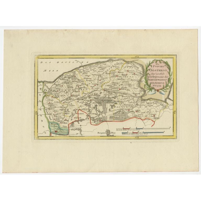 Antique Map of the region of Leeuwarden and Dokkum by Von Reilly (1791)
