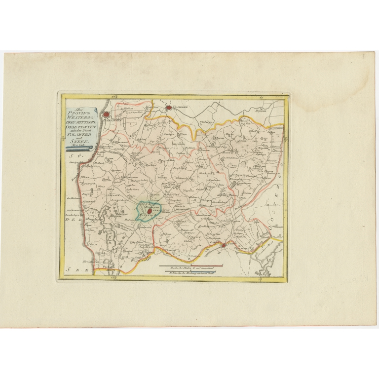 Antique Map of the region of Bolsward and Sneek by Von Reilly (1791)