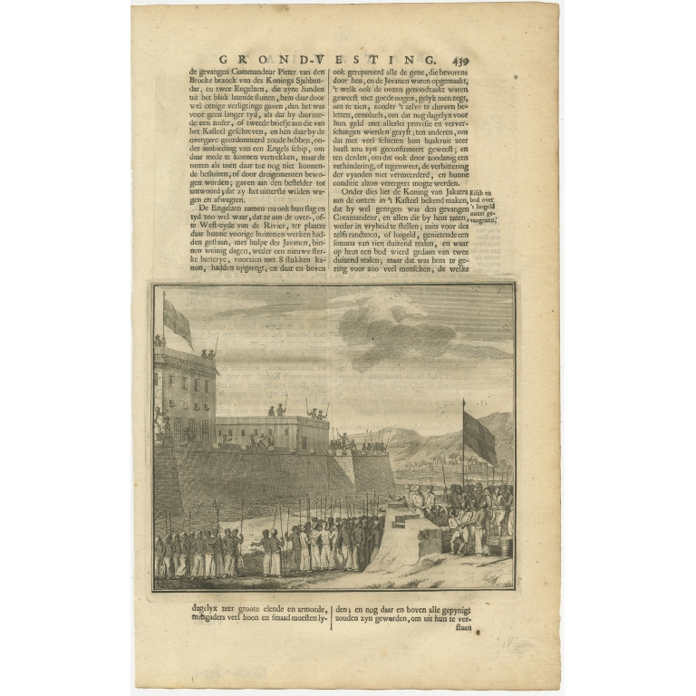 Antique Print of Negotiations in Batavia by Valentijn (1726)
